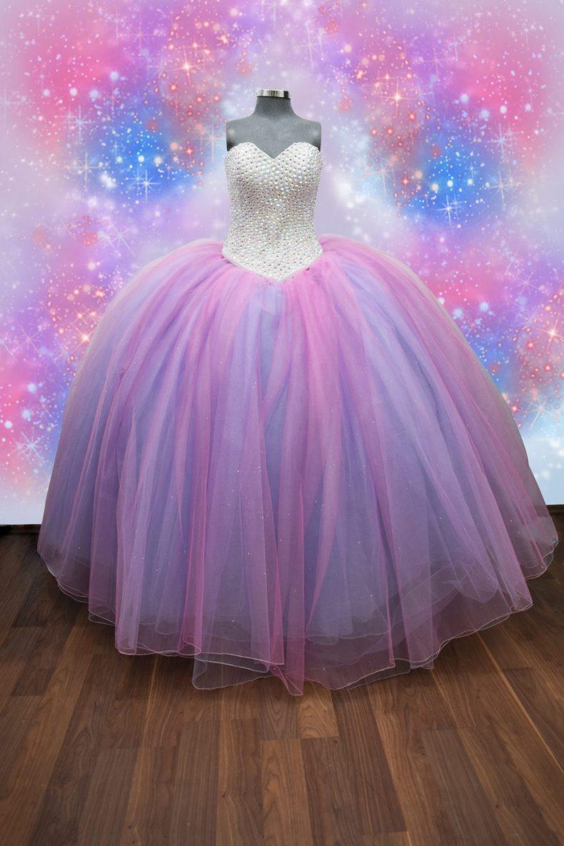 Vestido de xv años de colores unicornio