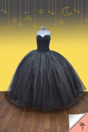 Renta de vestido de XV años Largo Mod. Vestido Mod. VQ1602 color negro con glitter plateado