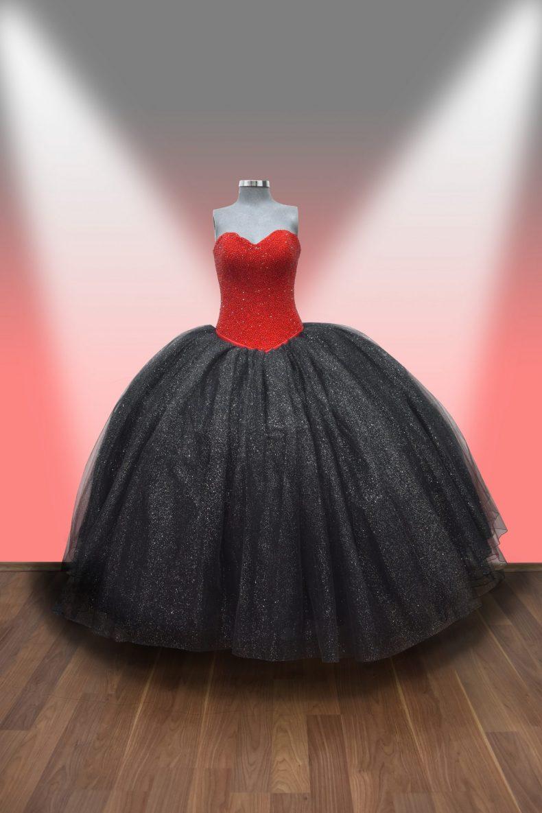 Renta de vestido de XV años Largo Mod. VQ2115 colores rojo y negro