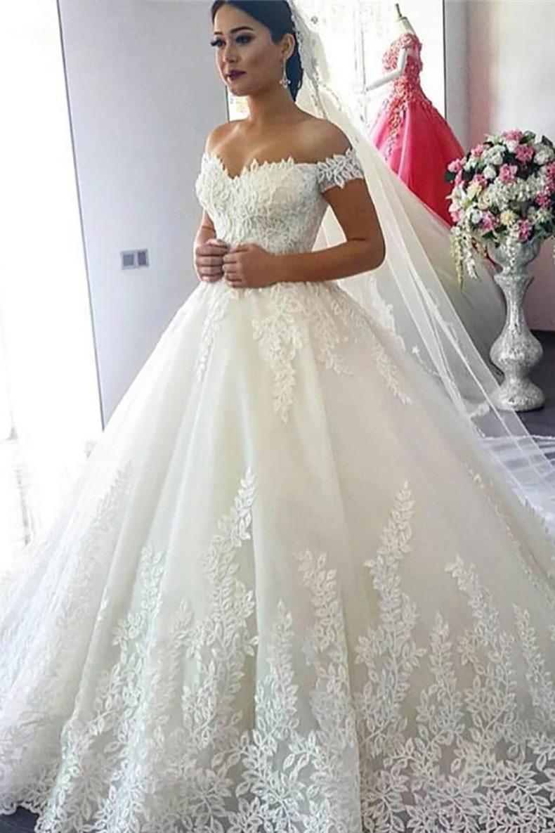 Vestido de Novia largo corte princesa tela mesh