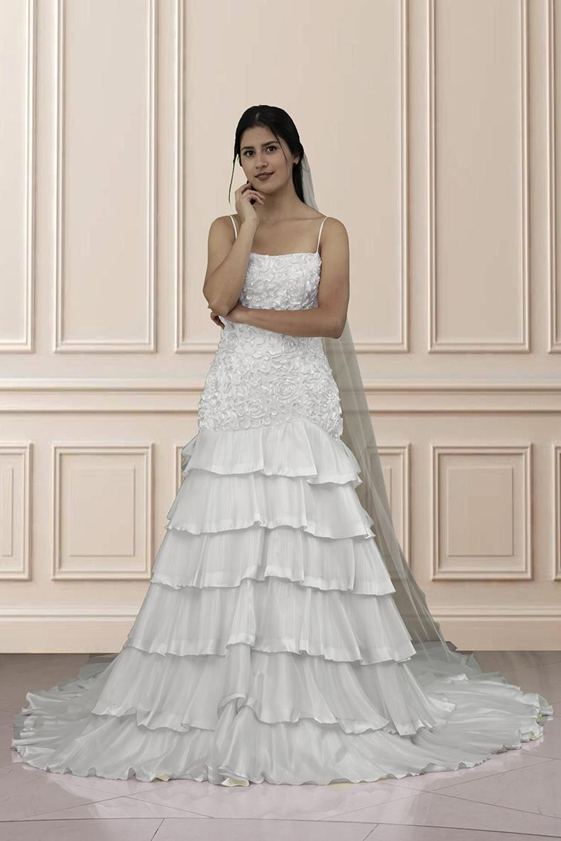 Vestido de novia cola de sirena, en tela de encaje