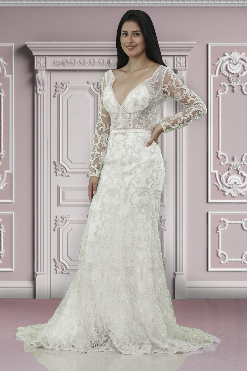 Vestido de noche novia corte cola de sirena con pedrería